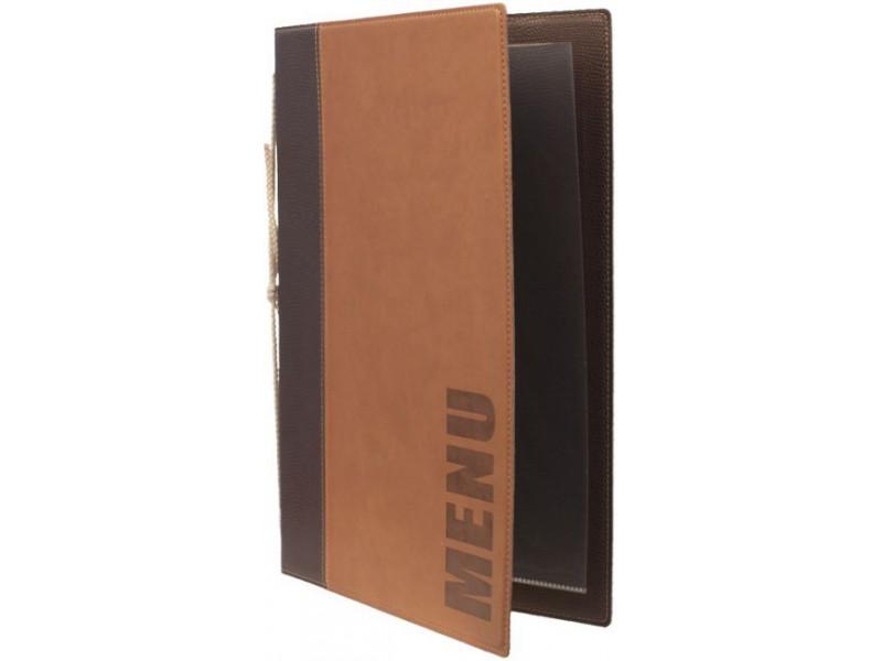 achat prot ge carte a4 cuir marron et prot ge menu pour restaurant. Black Bedroom Furniture Sets. Home Design Ideas